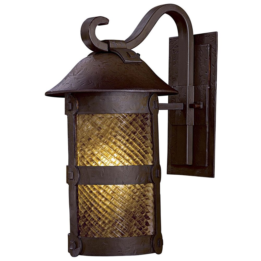 Outdoor Wall Light with Beige / Cream Glass in Forged Bronze Finish 9252-A199-PL Destination ...