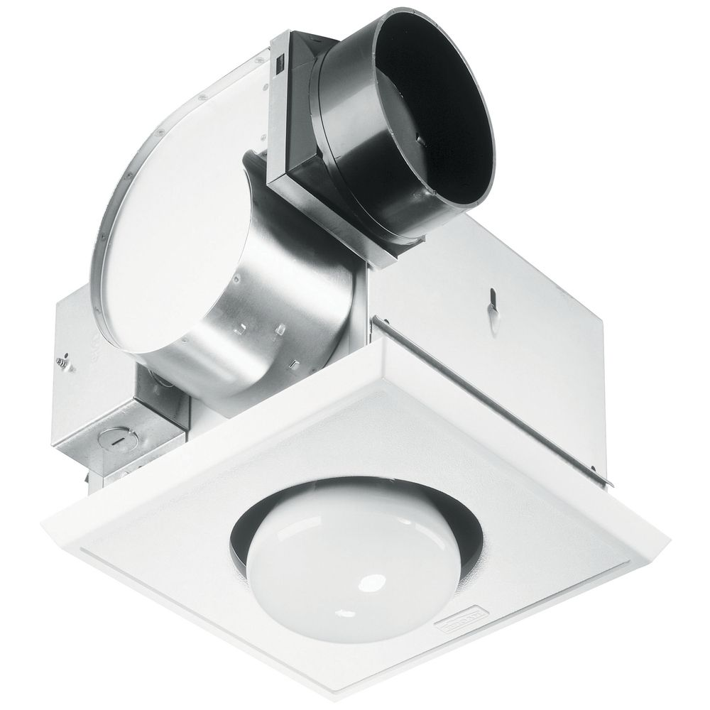White Bathroom Heater bathroom 70 cfm exhaust fan with heat lamp and light | un 9417-dn