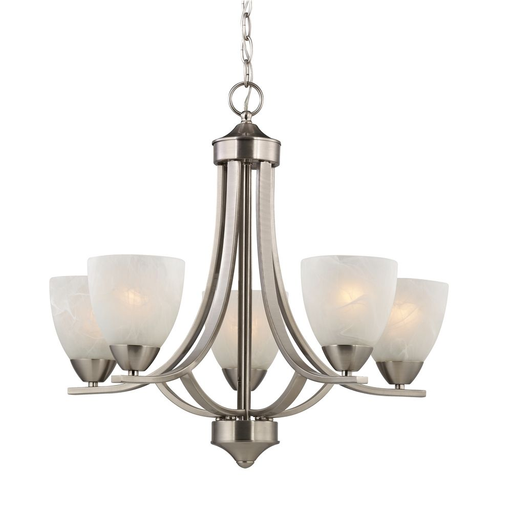 Chandelier Lighting Glass: Satin Nickel Chandelier With Alabaster Glass Shades