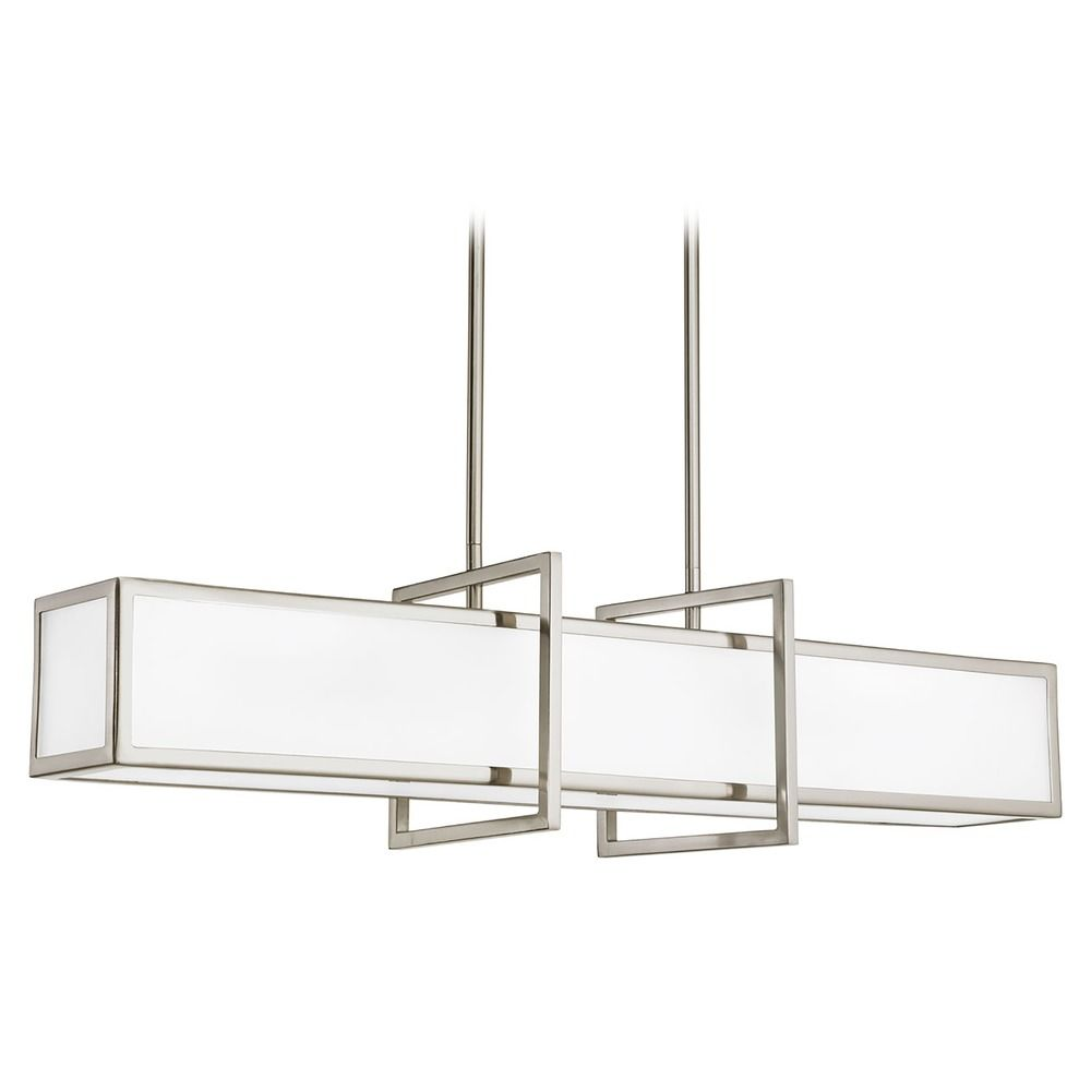 brushed nickel minipendant light with rectangle shade p3898 hover or click to zoom