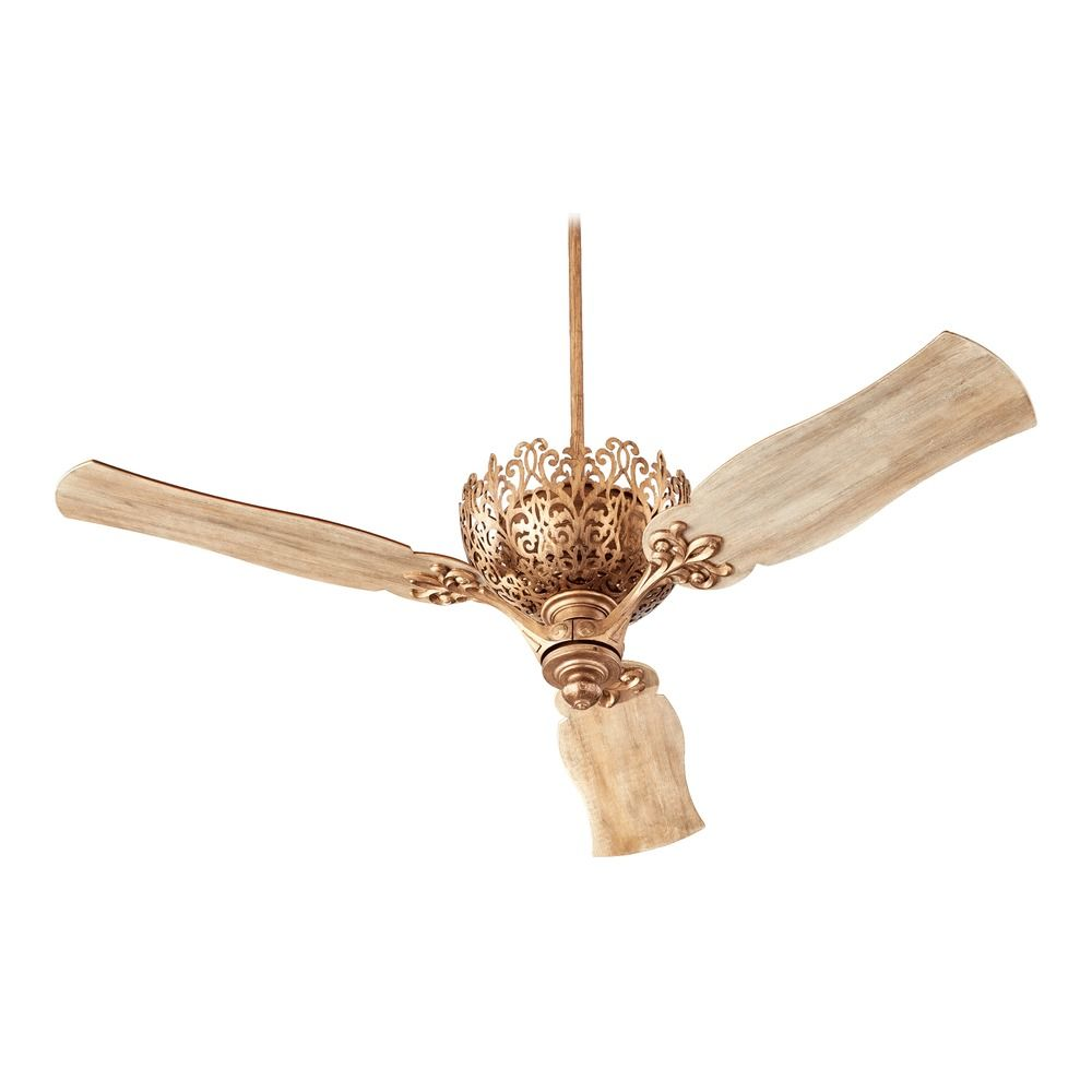 ... Lighting Le Monde Vintage Gold Leaf Ceiling Fan Without Light 92623-30
