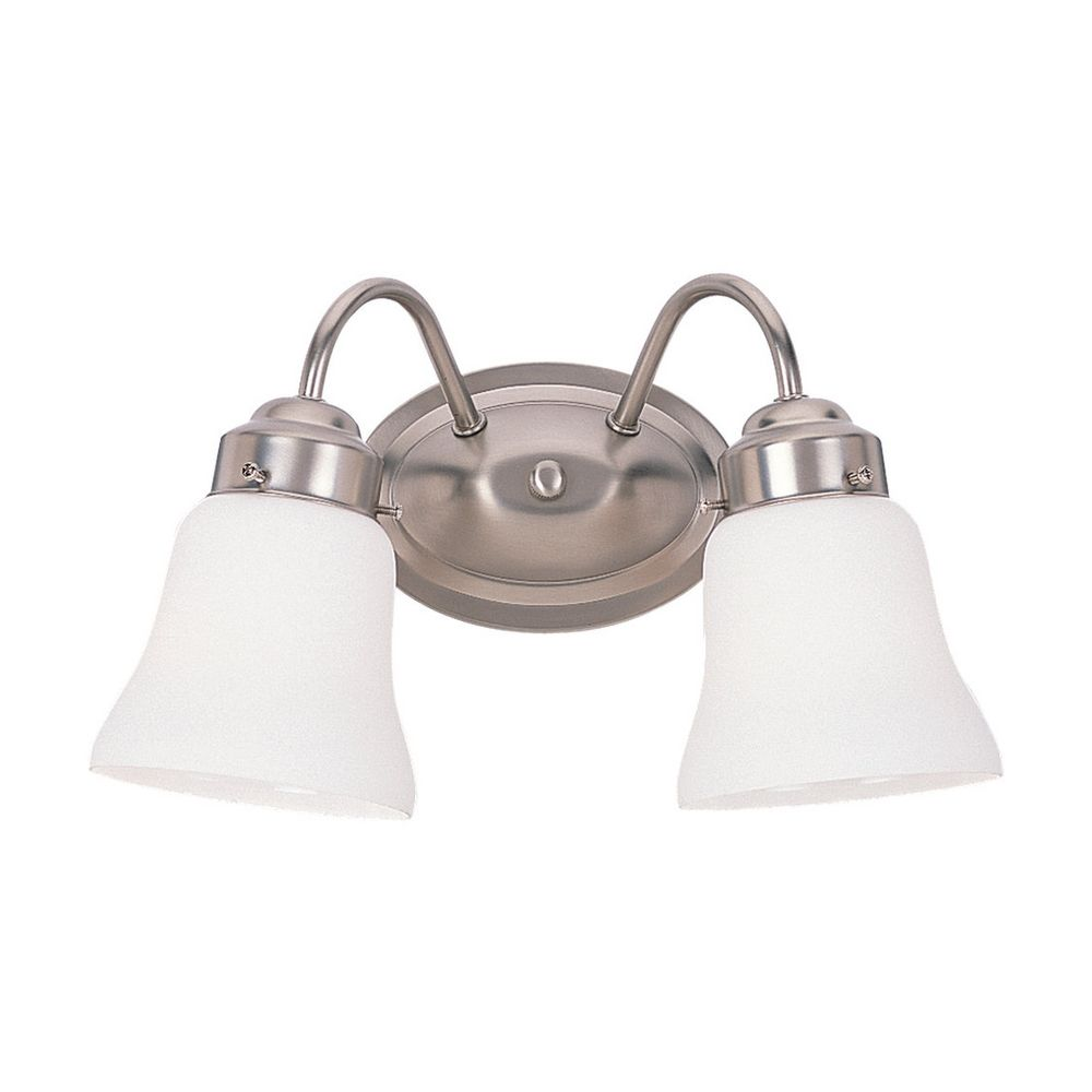 Sea Gull Lighting 44237 962 3 Light Brushed Nickel Bathroom Vanity Wall Fixture: Bathroom Light With White Glass In Brushed Nickel Finish