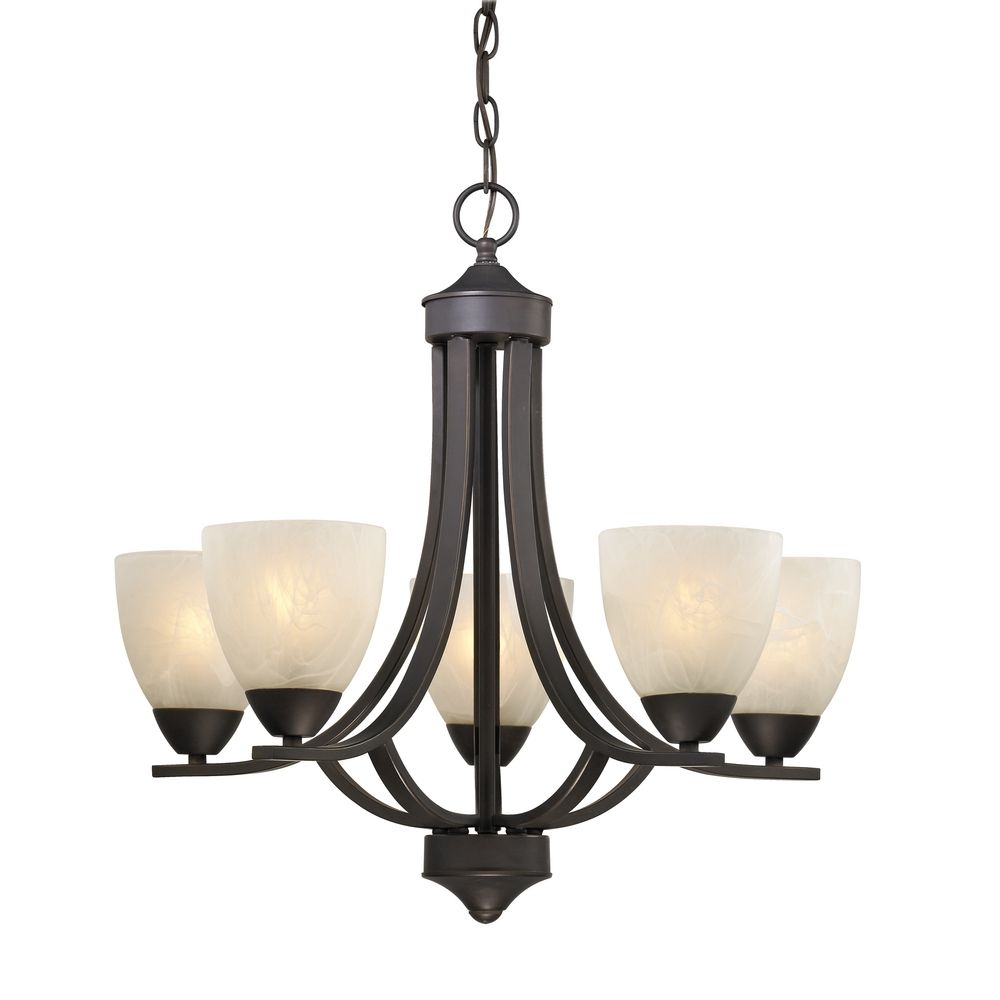 Chandelier Lighting Glass: 5-Light Chandelier With Alabaster Glass In Bronze