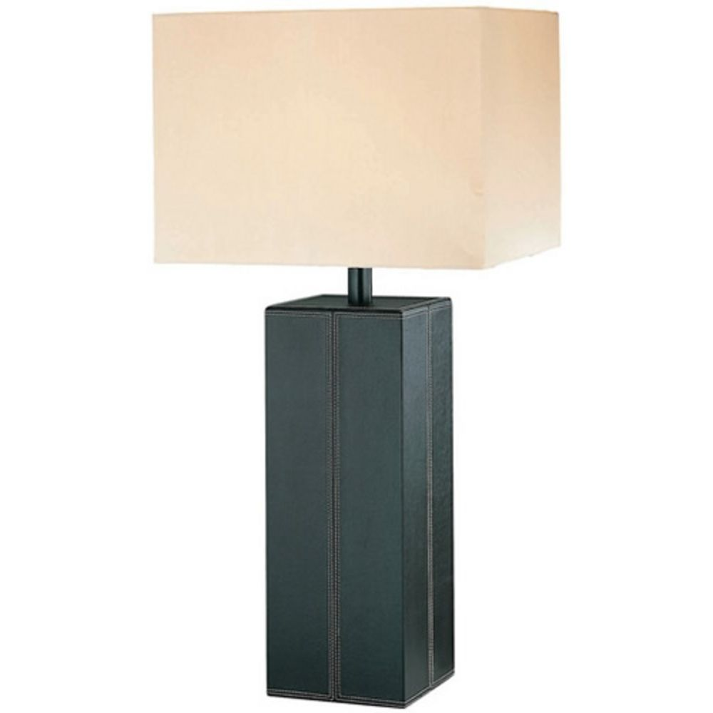 Table Lamp With White Shade In Dark Brown Finish Ls