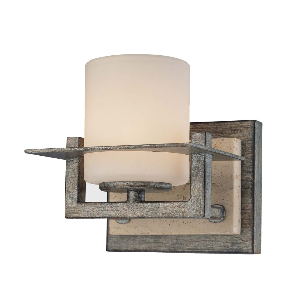 Rustic Electric Wall Sconces : Sconce Wall Light with White Glass in Aged Patina Iron Finish 6461-273 Destination Lighting