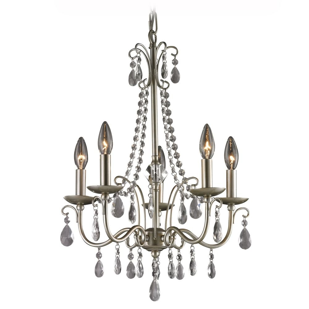 Sterling Lighting Silver Crystal Chandelier