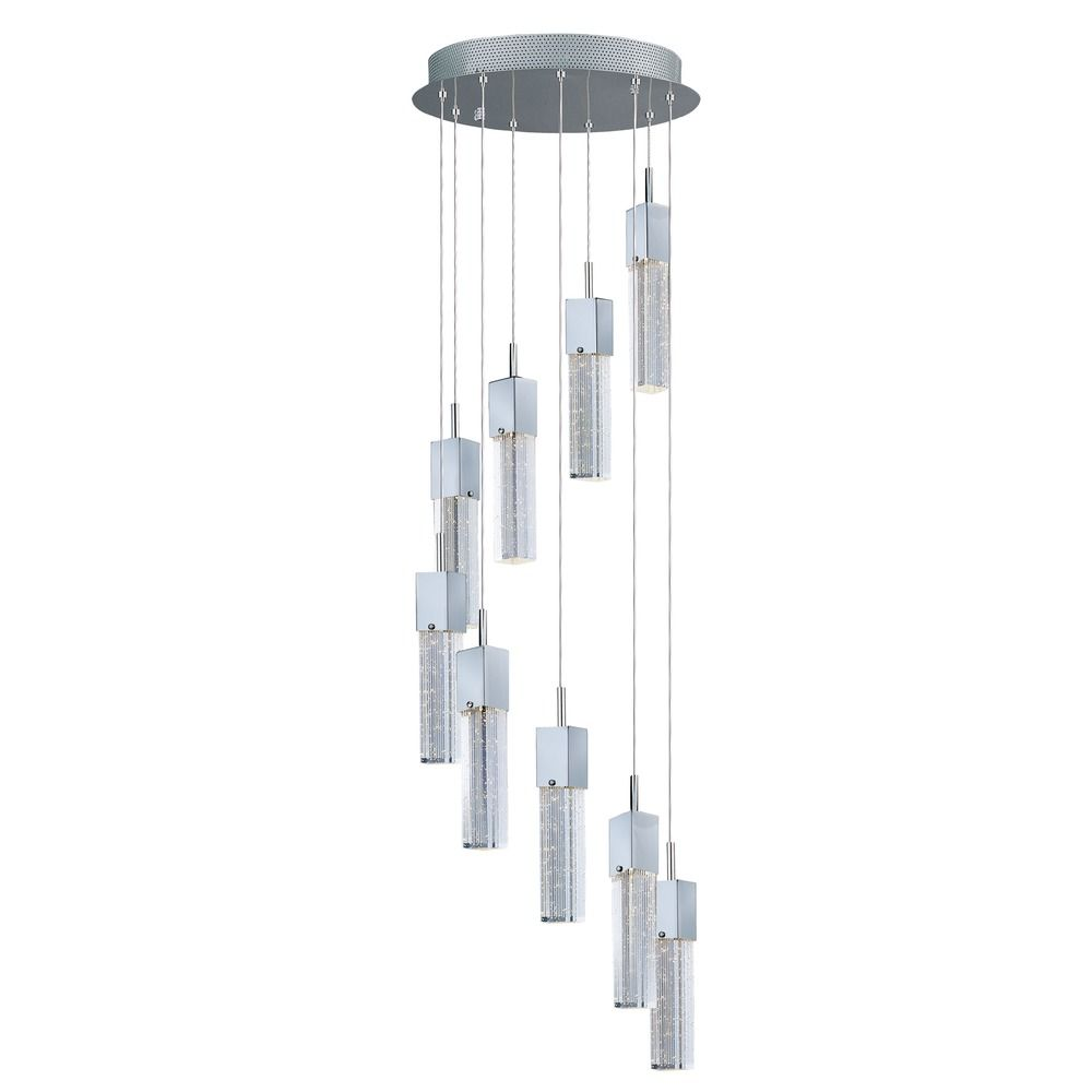 Fizz Iii Polished Chrome LED Multi Light Pendant With Rectangle Shade E2276