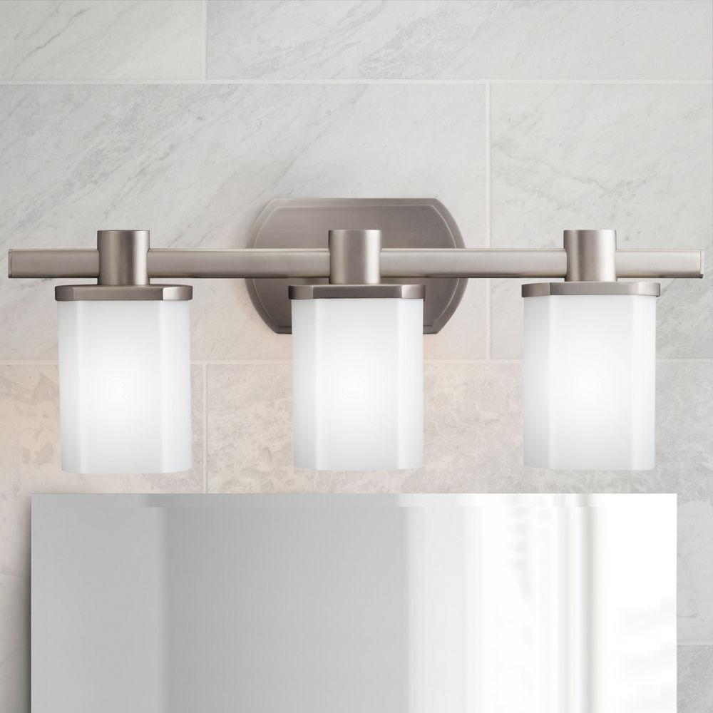 Kichler Brushed Nickel Modern Bathroom, Modern Bathroom Light Fixtures Brushed Nickel