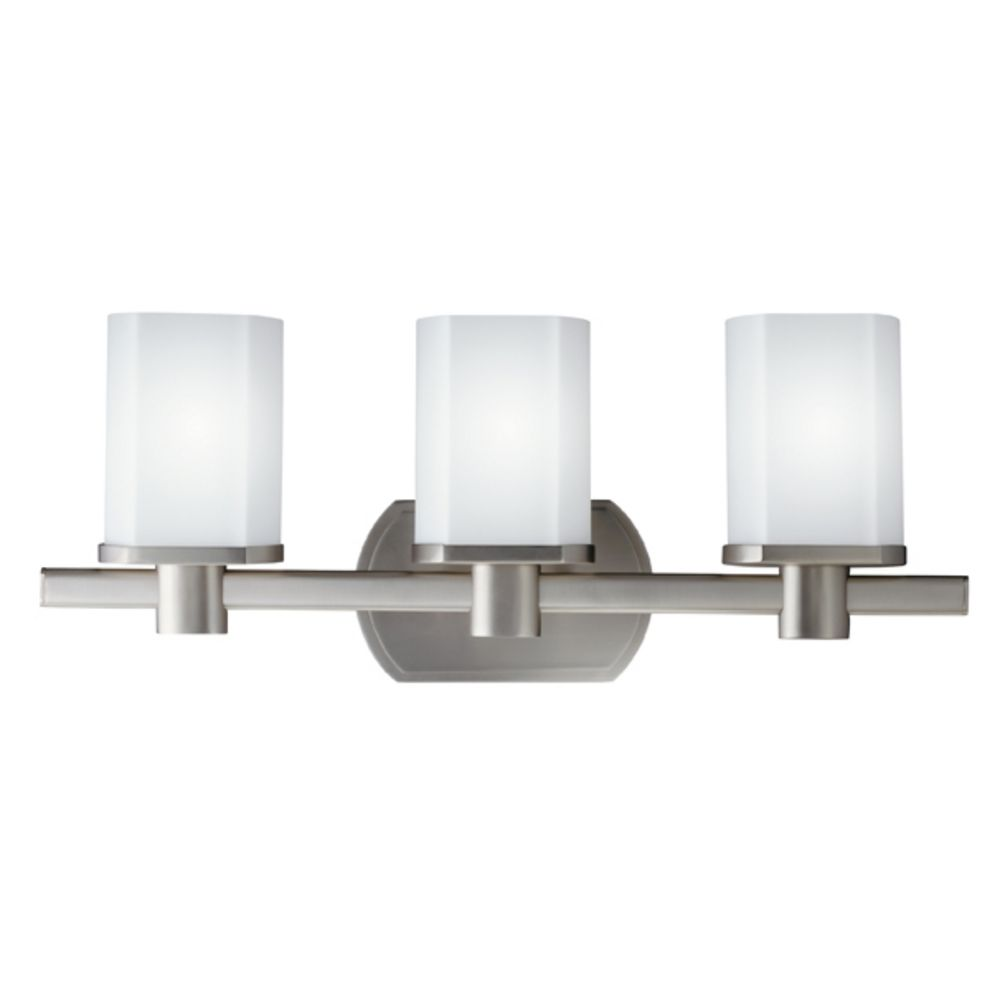 Kichler Brushed Nickel Modern Bathroom Light with White Glass 5053NI Destination Lighting
