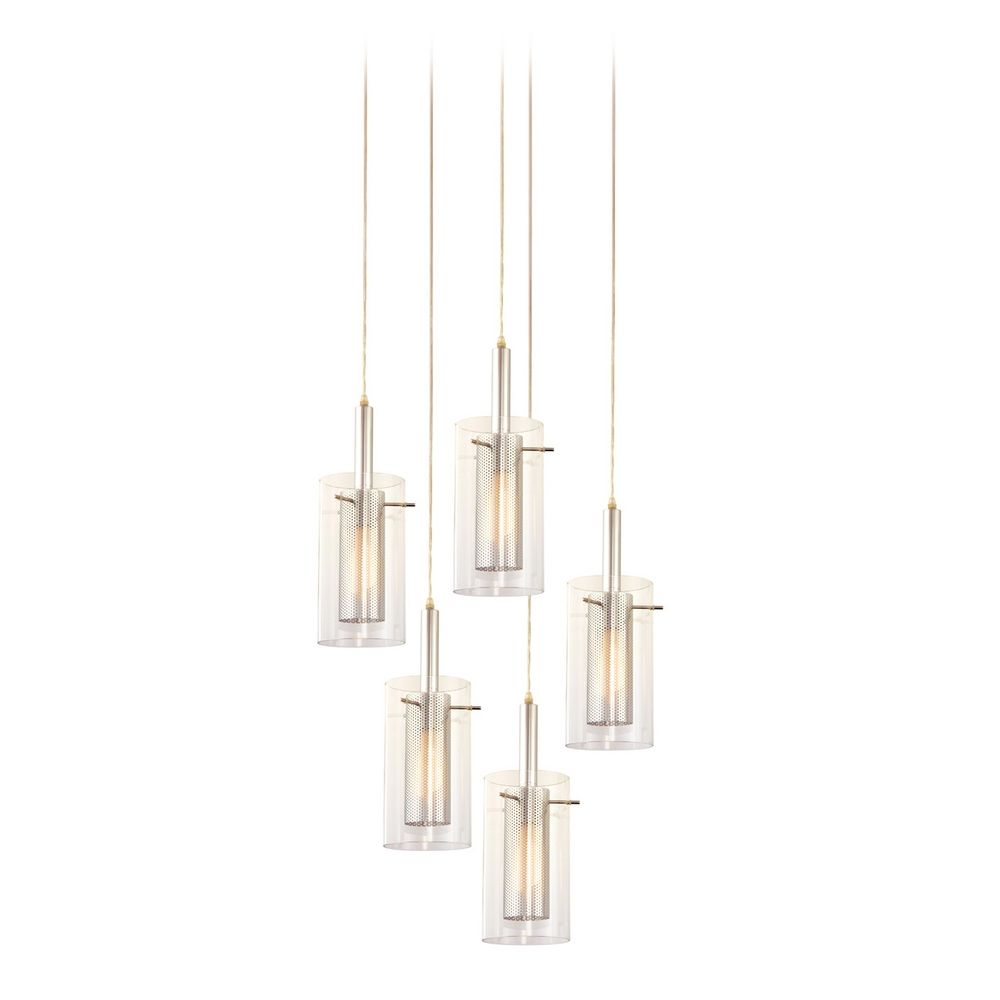 Modern MultiLight Pendant Light With Clear Glass And Lights - 5 pendant light fixture