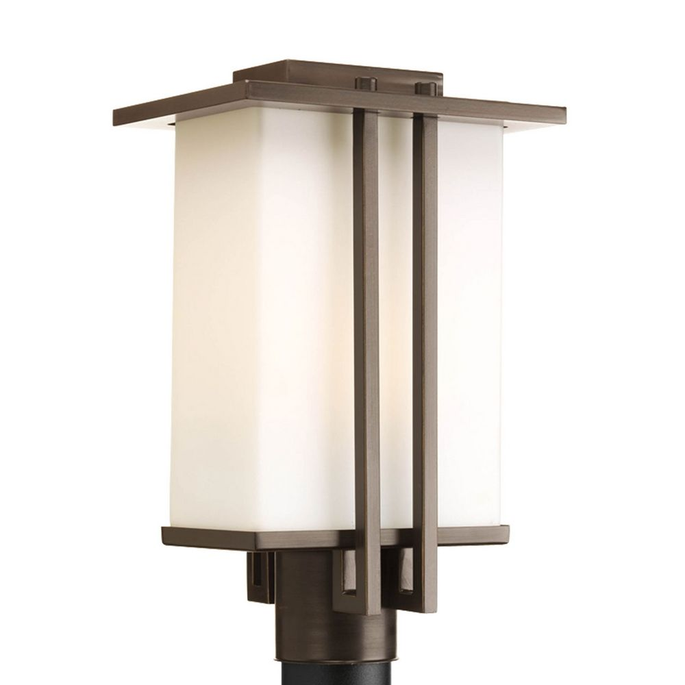Progress modern post light with white glass in antique for Outdoor light post fixtures
