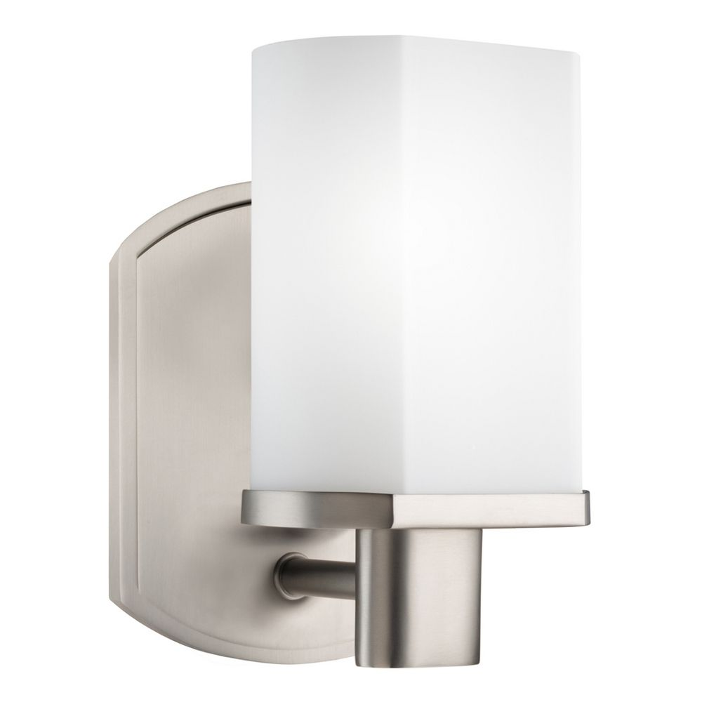 Kichler Brushed Nickel Modern Sconce With White Glass 5051ni Destination Lighting