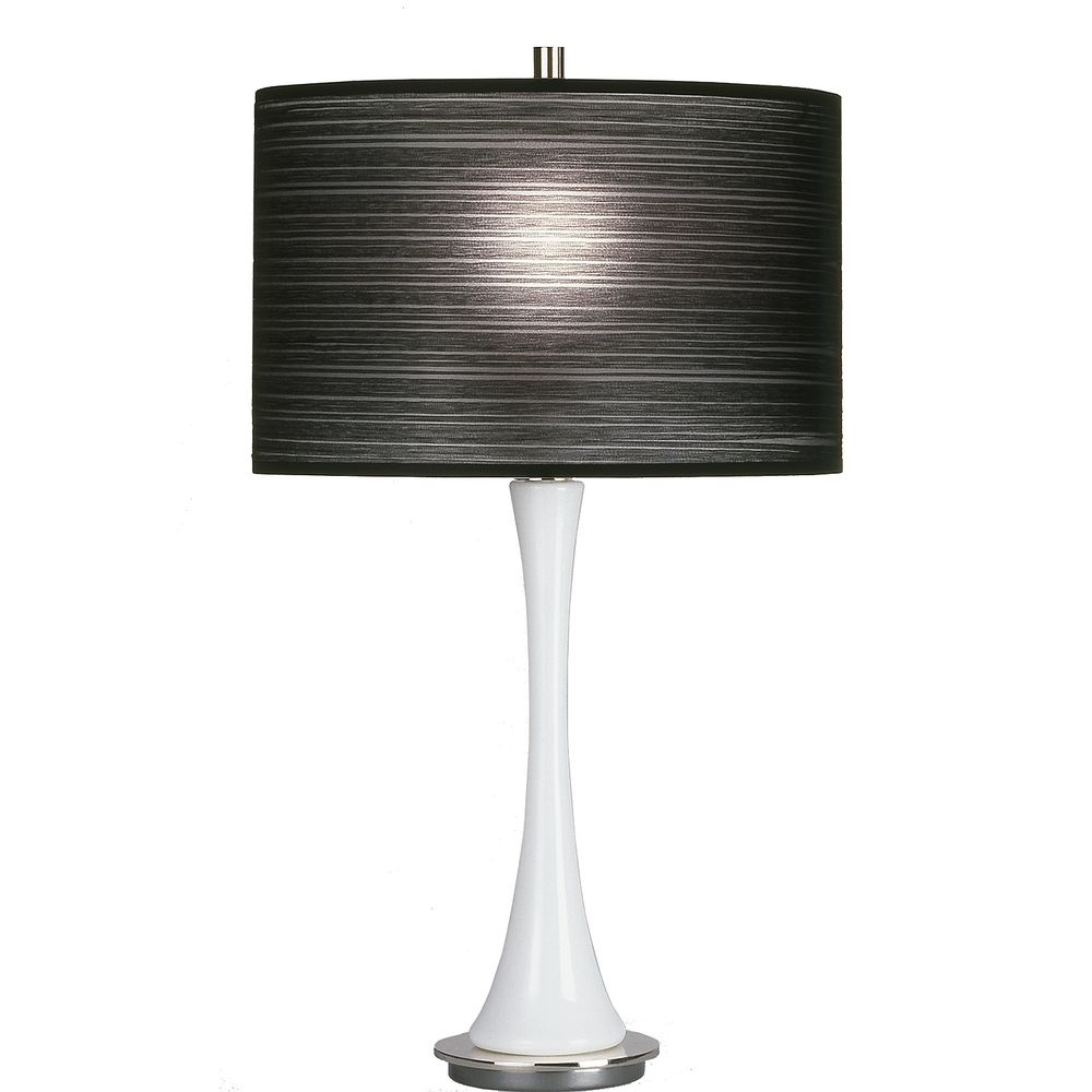 Modern White Glass Table Lamp With Black Drum Shade