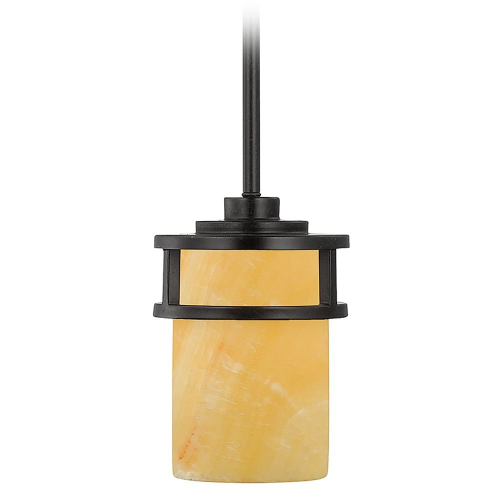 Bronze Mini Pendant Light With Onyx Cylinder Shade