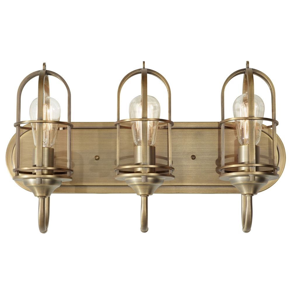 Cool  Lighting Modern Bathroom Light With White Glass In Aged Brass Finish