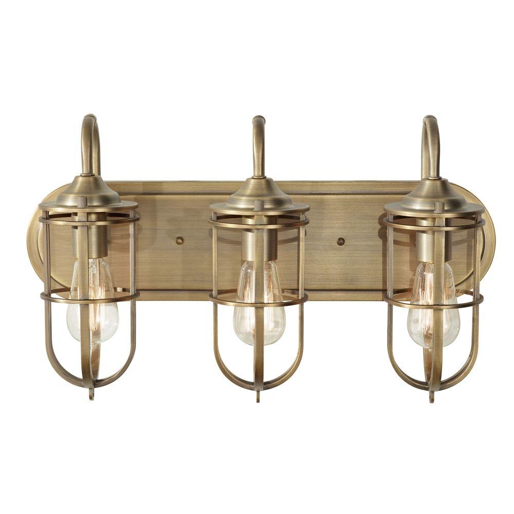 Bathroom light in dark antique brass finish vs36003 dab - Antique bathroom lighting fixtures ...