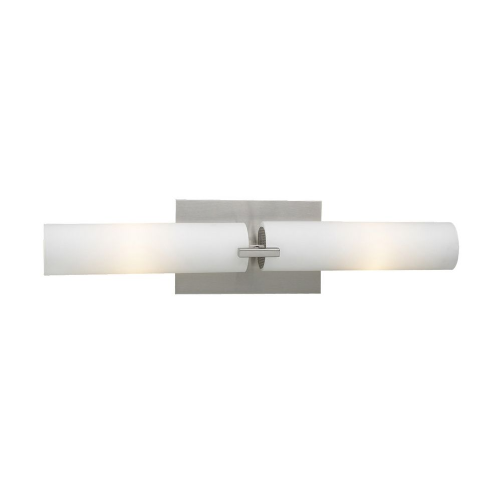 PLC Lighting Modern Vertical Bathroom Light with White Glass in Satin