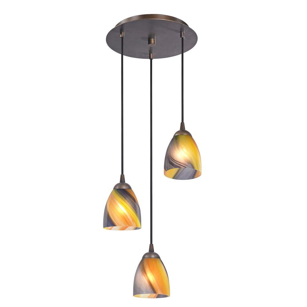 Modern multi light pendant light with art glass and 3 Artisan glass pendant lights