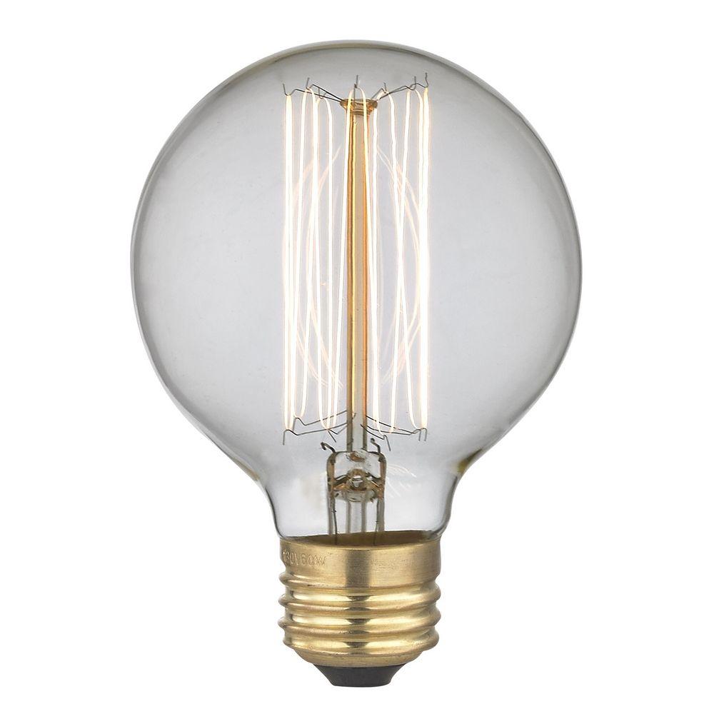 Design Classics Lighting Vintage Edison G25 Globe Light Bulb 40 Watts 40g25 Filament
