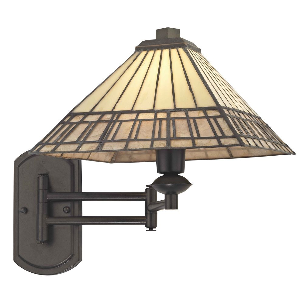 Mission Tiffany Bronze Adjustable Swing Arm Wall Sconce 1706 TB Destination Lighting