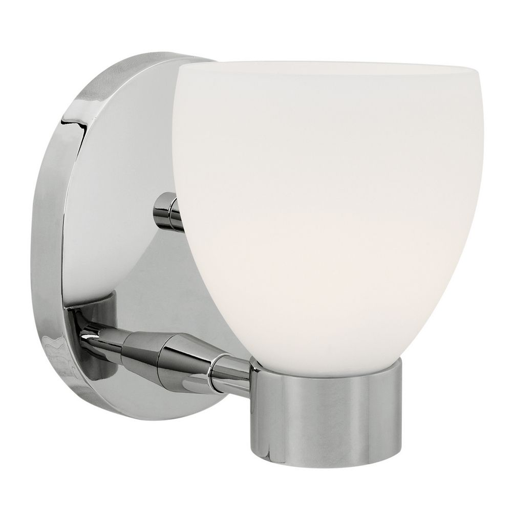 Wall Sconce Chrome Finish : Modern Sconce Wall Light with White Glass in Chrome Finish 23901-CH/OPL Destination Lighting