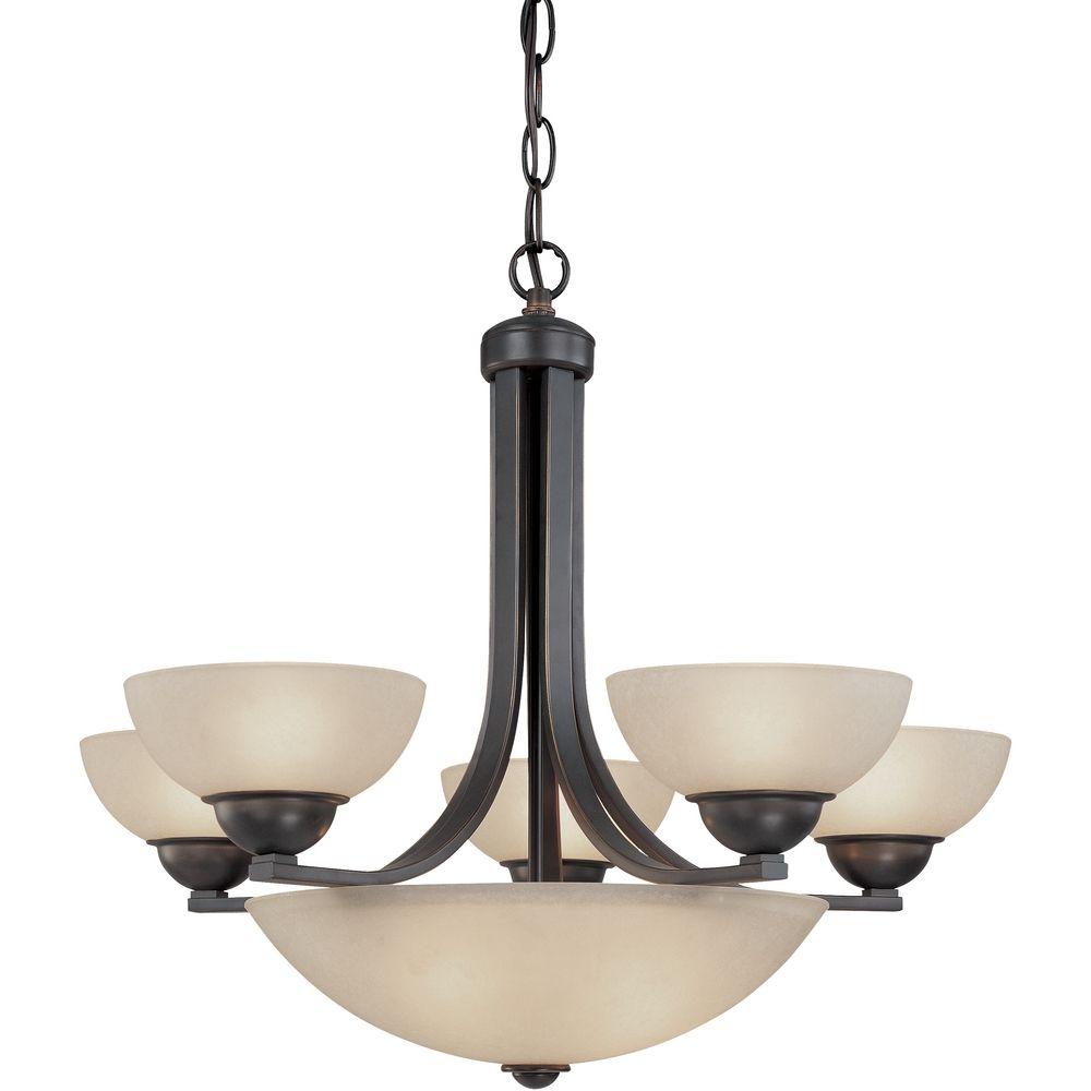bronze chandelier with center bowl 208 78 destination lighting