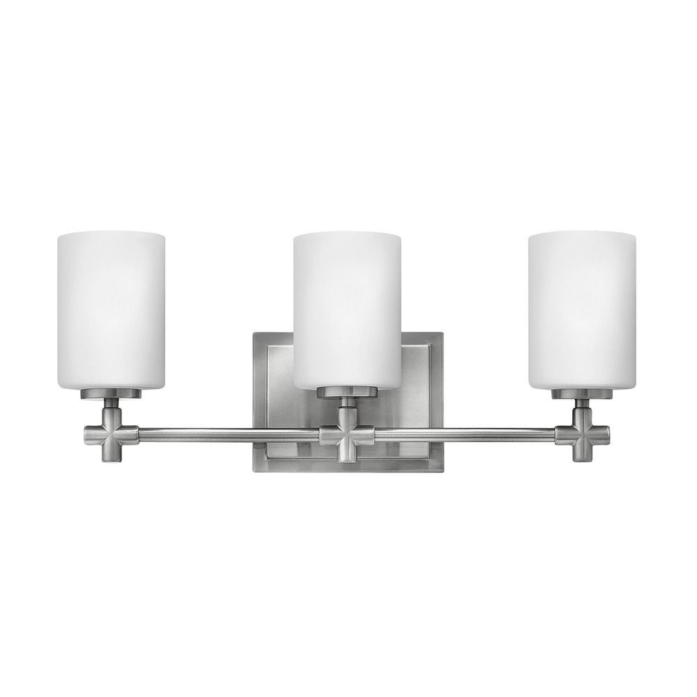 Hinkley lighting laurel brushed nickel bathroom light for Hinkley bathroom vanity lighting
