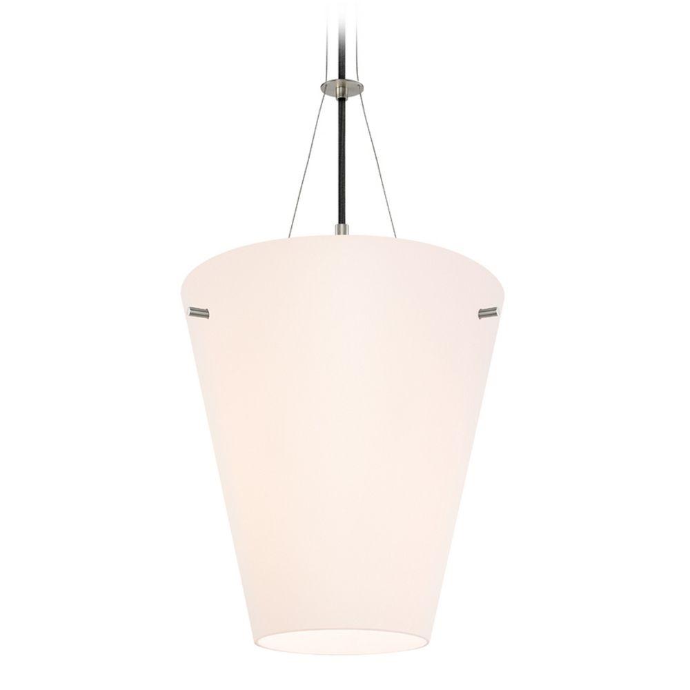 Pendant lighting satin nickel finish : Modern pendant light with white glass in satin nickel