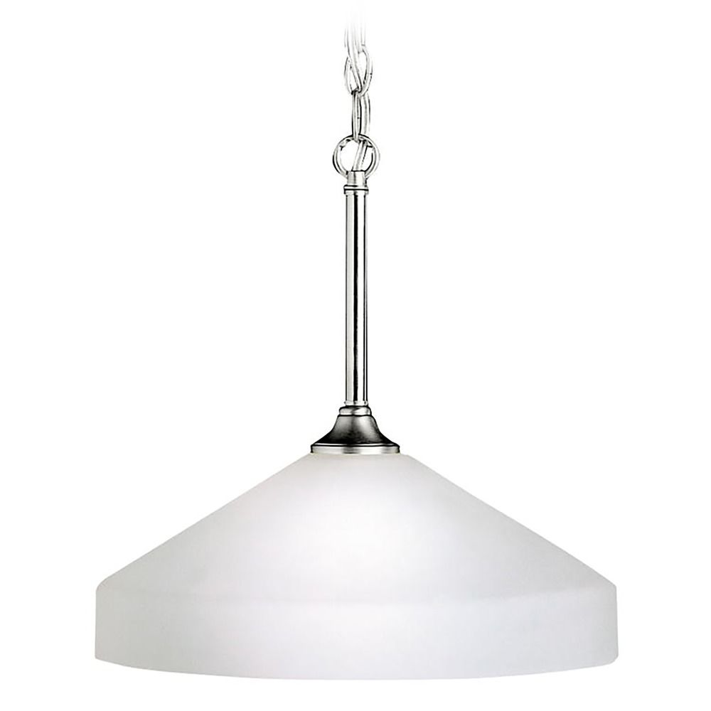 Kichler Modern Pendant Light With White Glass In Brushed