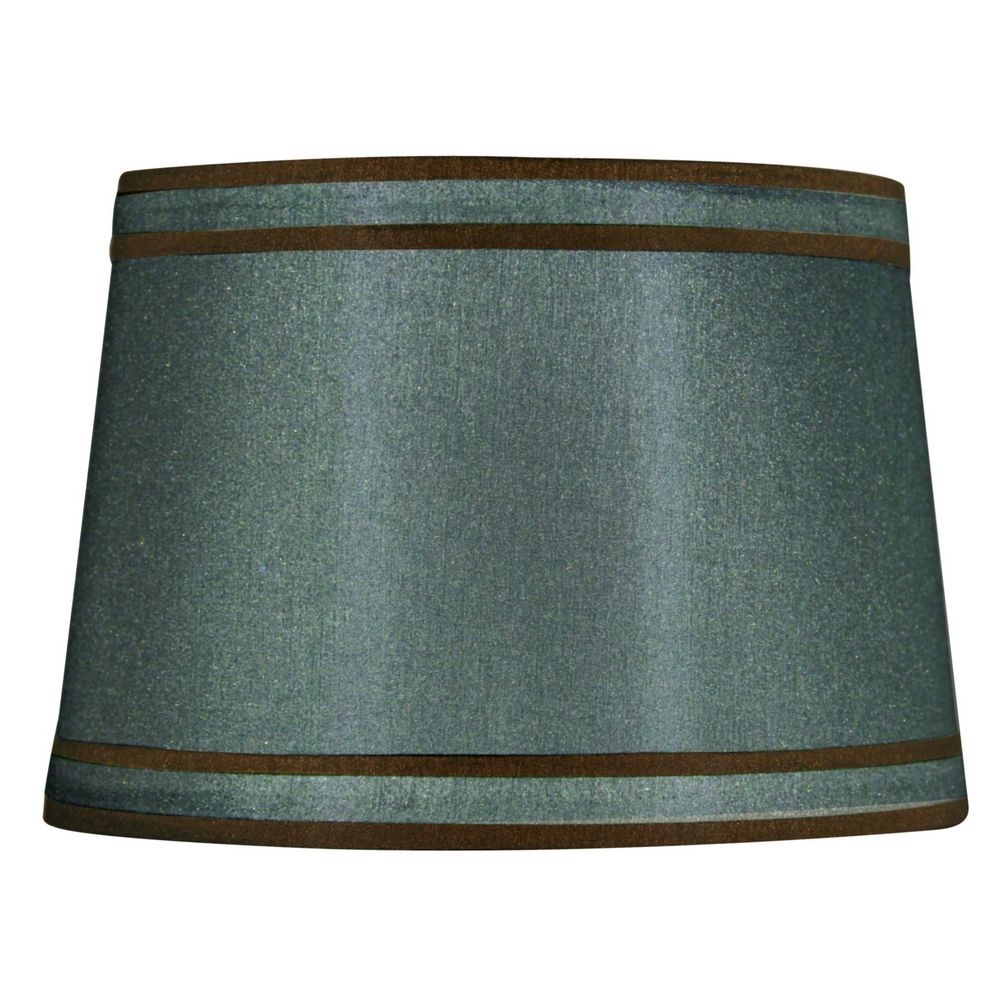 Drum Lamp Shades : Green brown drum lamp shade with spider assembly