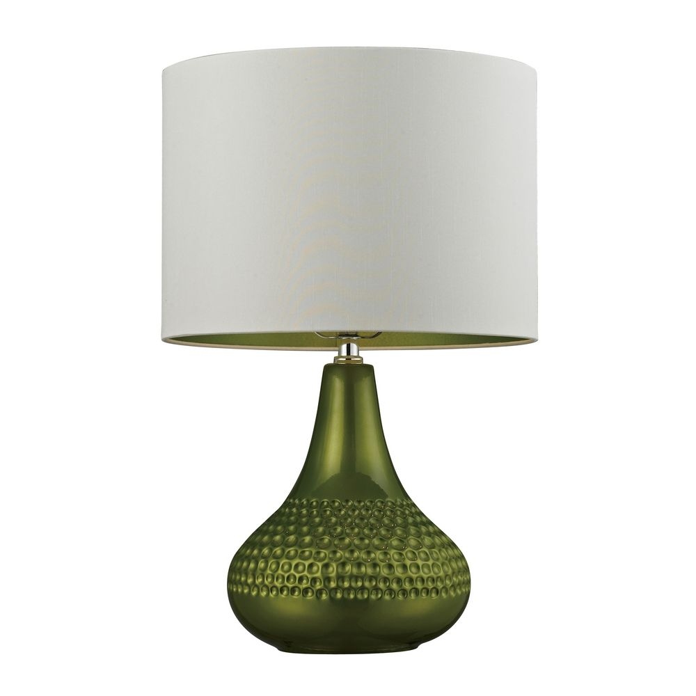 table lamp in bright green with white drum shade d266 destination. Black Bedroom Furniture Sets. Home Design Ideas