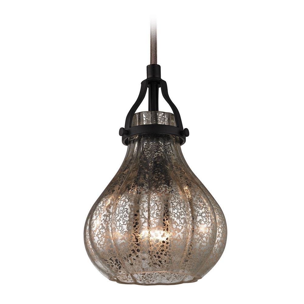Elk Lighting Mini-Pendant Light with Mercury Glass 46024/1. Hover or Click  to Zoom