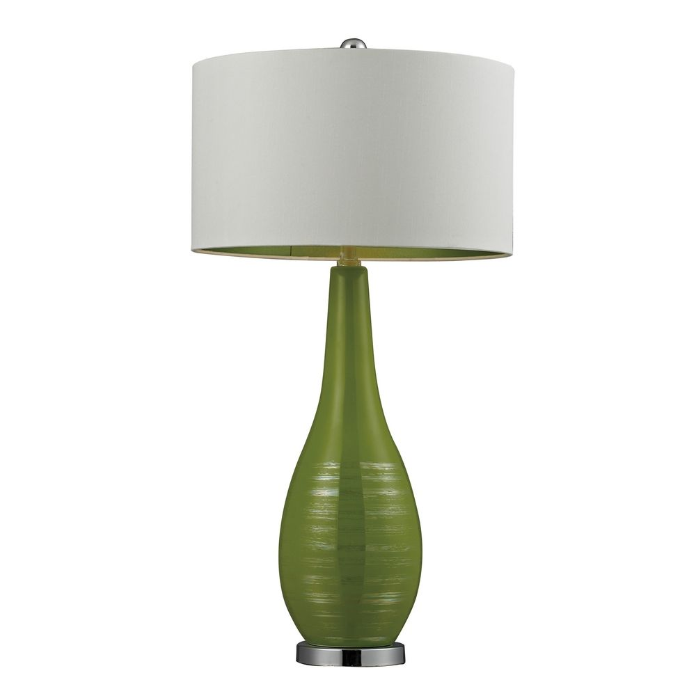 Table lamp in lime green with white drum shade d272 destination dimond lighting table lamp in lime green with white drum shade d272 mozeypictures Choice Image