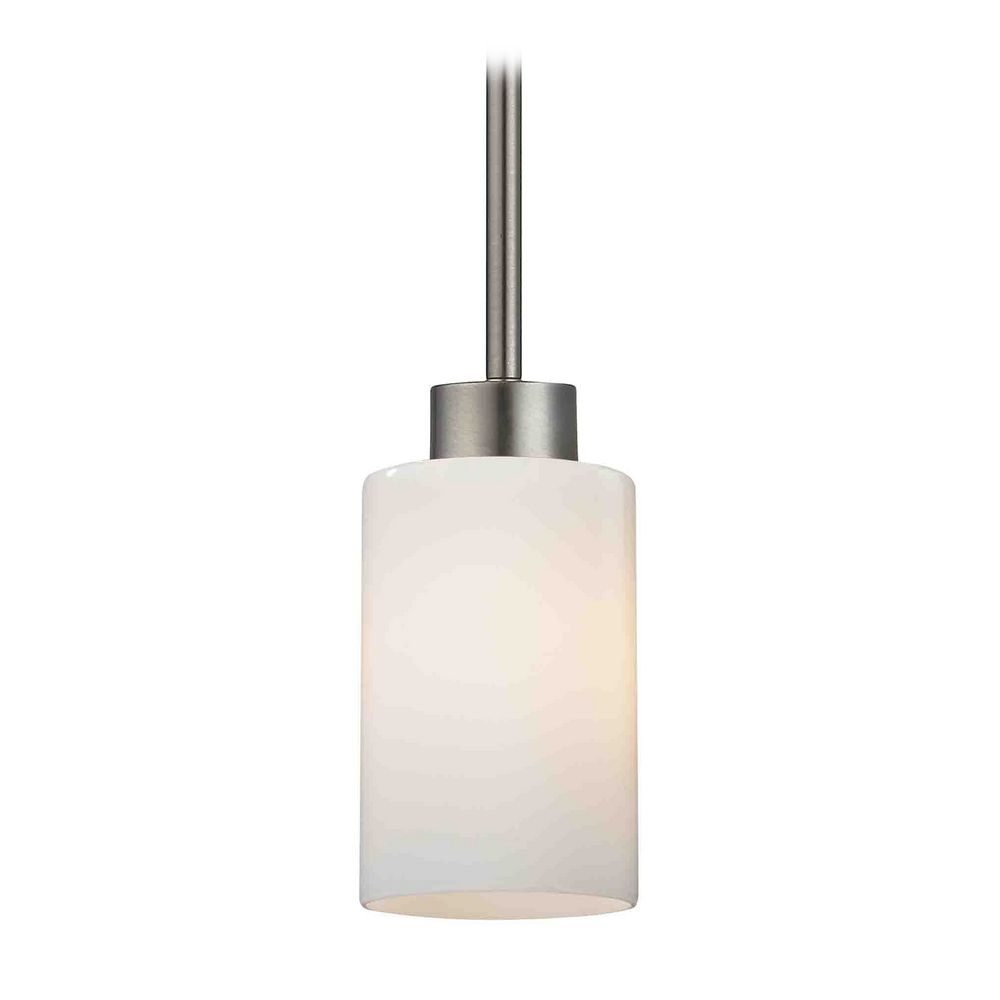 Modern mini pendant light with white glass 1123 1 09 for Modern white pendant lighting