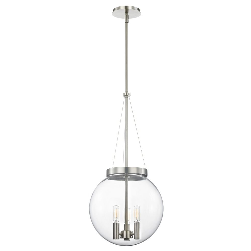 Mid century modern pendant light clear globe satin nickel 12 inch mid century modern pendant light clear globe satin nickel 12 inch alt1 aloadofball Gallery