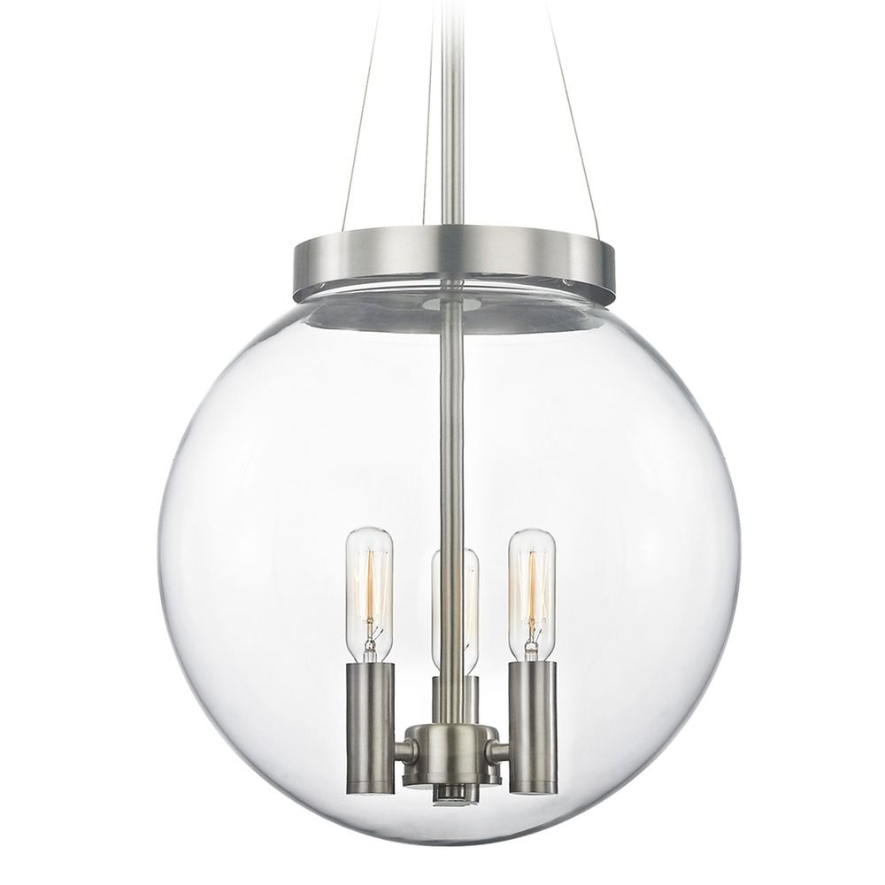 Mid Century Modern Pendant Light Clear Globe Satin Nickel