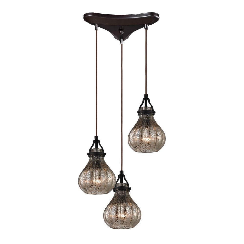 Multi Light Pendant Light With Mercury Glass And 3 Lights