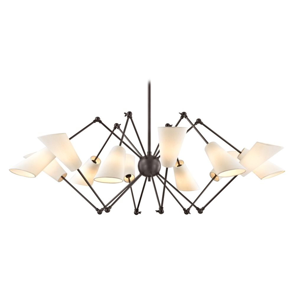Hudson Valley Lighting Mid Century Modern Bronze Chandelier 12 Lt Adjule Arms By
