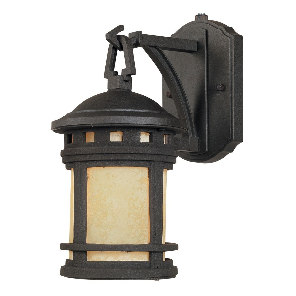Outdoor Wall Light With Amber Glass In Oil Rubbed Bronze