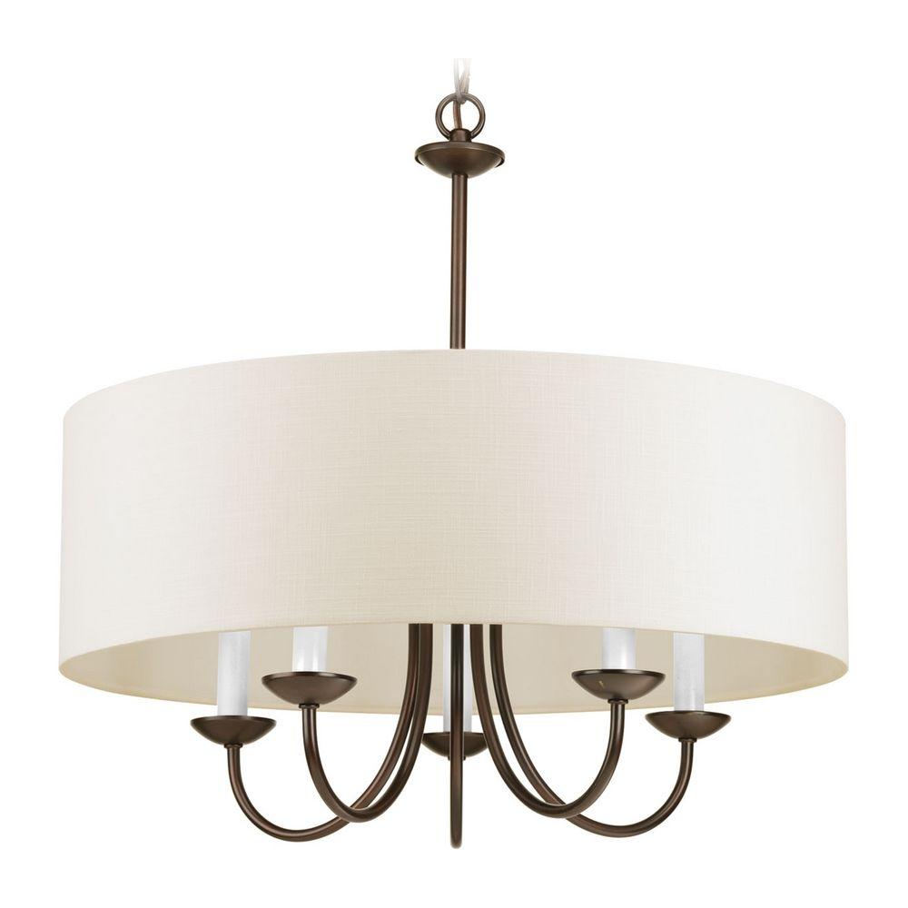 progress lighting drum pendant light with beige cream shades in