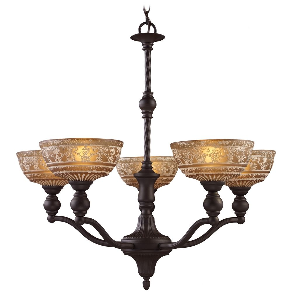 Chandelier With Amber Glass In Oiled Bronze Finish 66197