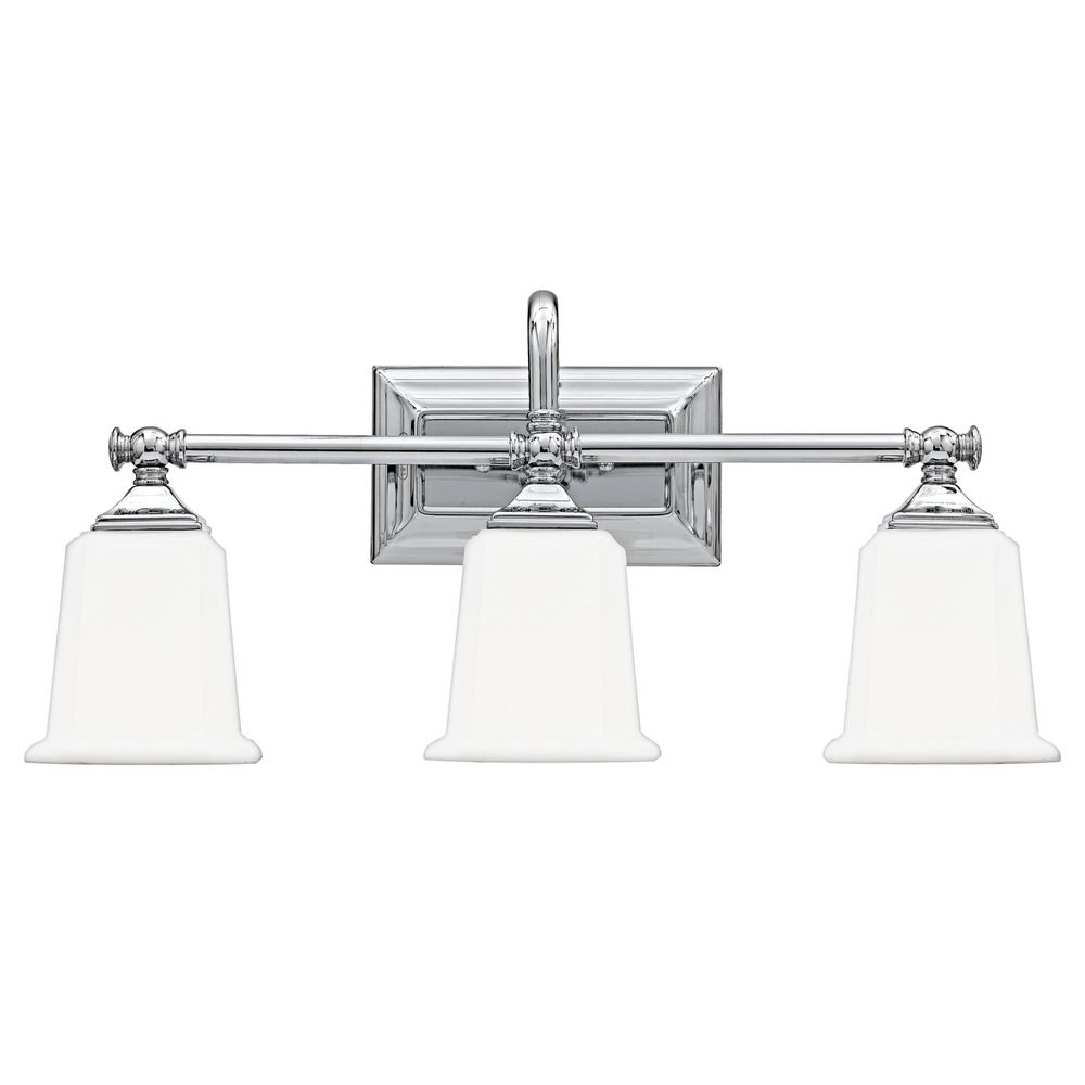 Three Light Bathroom Vanity Light: Three-Light Chrome Vanity Light