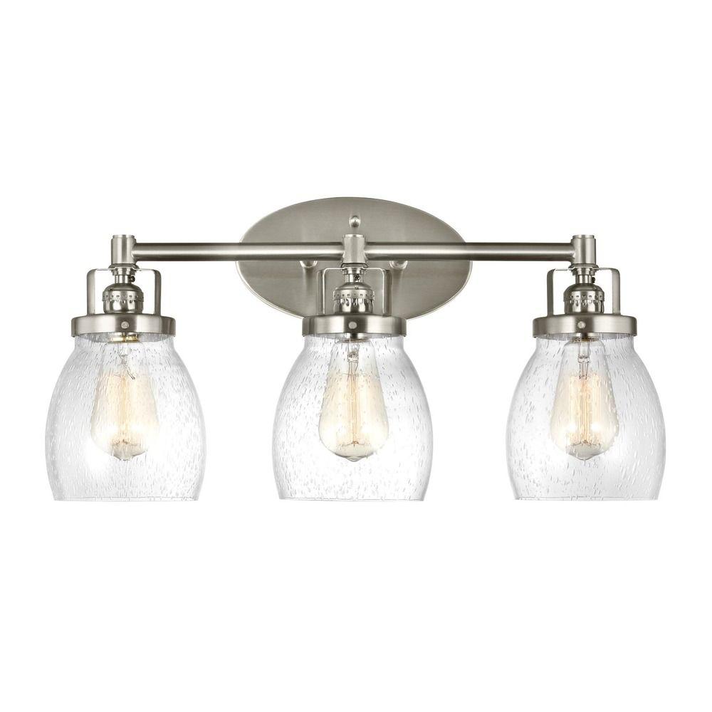 Seeded Glass Bathroom Light Brushed Nickel Sea Gull Lighting - Seagull bathroom lighting