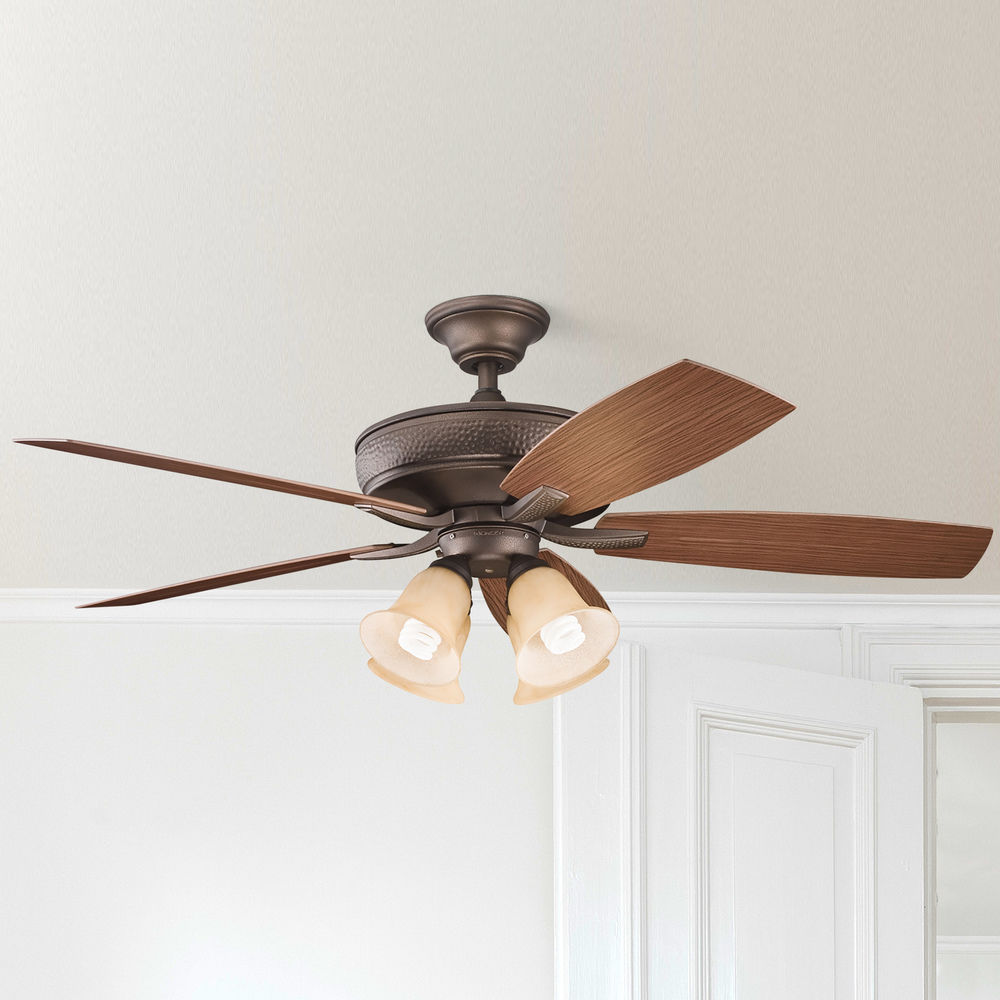 Kichler Ceiling Fan With Alabaster Glass Light Kit In Copper Finish 310103wcp Destination Lighting