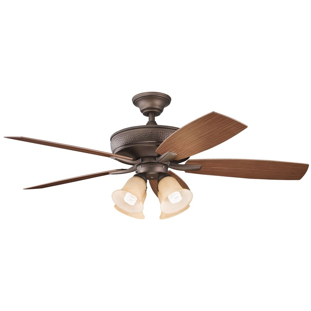 Kichler Ceiling Fan with Alabaster Glass Light Kit in