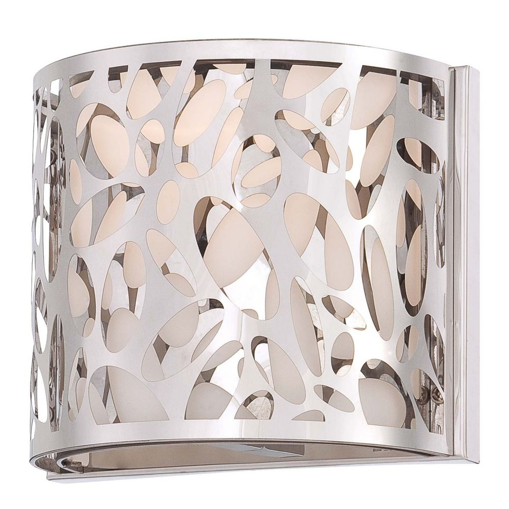 Modern Sconce Wall Light with White Glass in Chrome Finish P7981-077 Destination Lighting