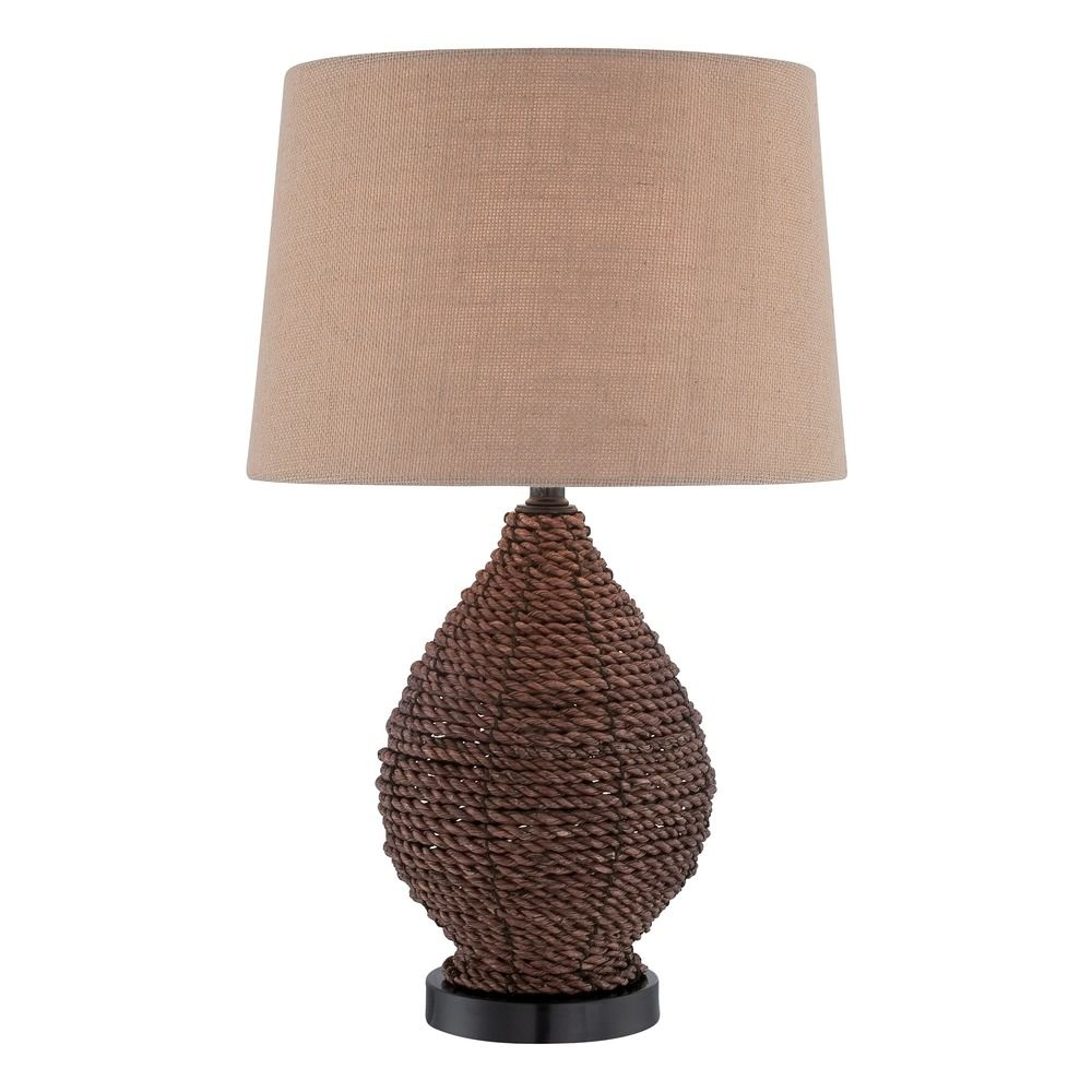 Lite source pouria dark brown table lamp with drum shade for Brown table lamp shades