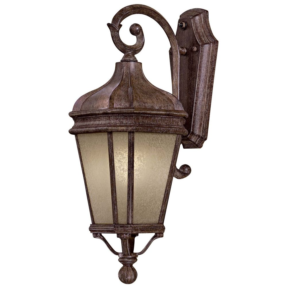 Outdoor Wall Light with Beige / Cream Glass in Vintage Rust Finish 8691-1-61-PL Destination ...