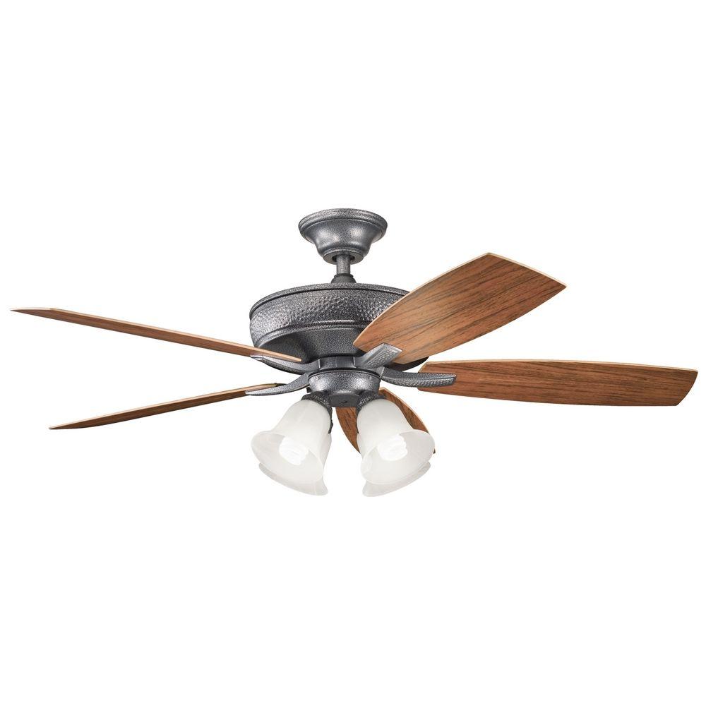 kichler lighting kichler ceiling fan with light kit in weathered steel. Black Bedroom Furniture Sets. Home Design Ideas