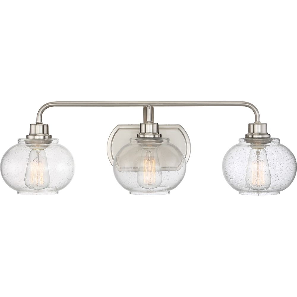 Seeded Glass Bathroom Light Brushed Nickel Quoizel Lighting Trg8603bn Destination Lighting